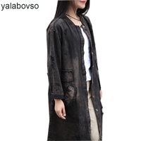 Spring Autumn Retro Vintage Hole Embroidery Loose Long Jacket Female Patchwork Fashion Denim Coat for woman A0B