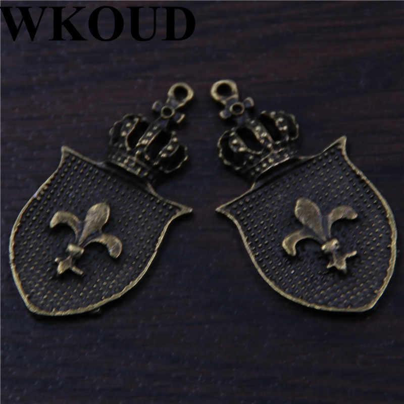 WKOUD 10 pcs Antique Bronze Crown Lily Bunga Perisai Charm Pendant DIY Kalung Gelang Bangle Temuan 40x21mm