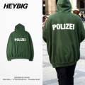 Oversize Hood German Police letter Print Youth funny Sweatshirts 2016 HEYBIG hiphop Hoodies Bat sleeved men Streetwear CN size