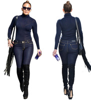 Londinas Ark Store Women Two Piece Set Denim Jeans And Top Hot 2017 Fashion Turtleneck Dark