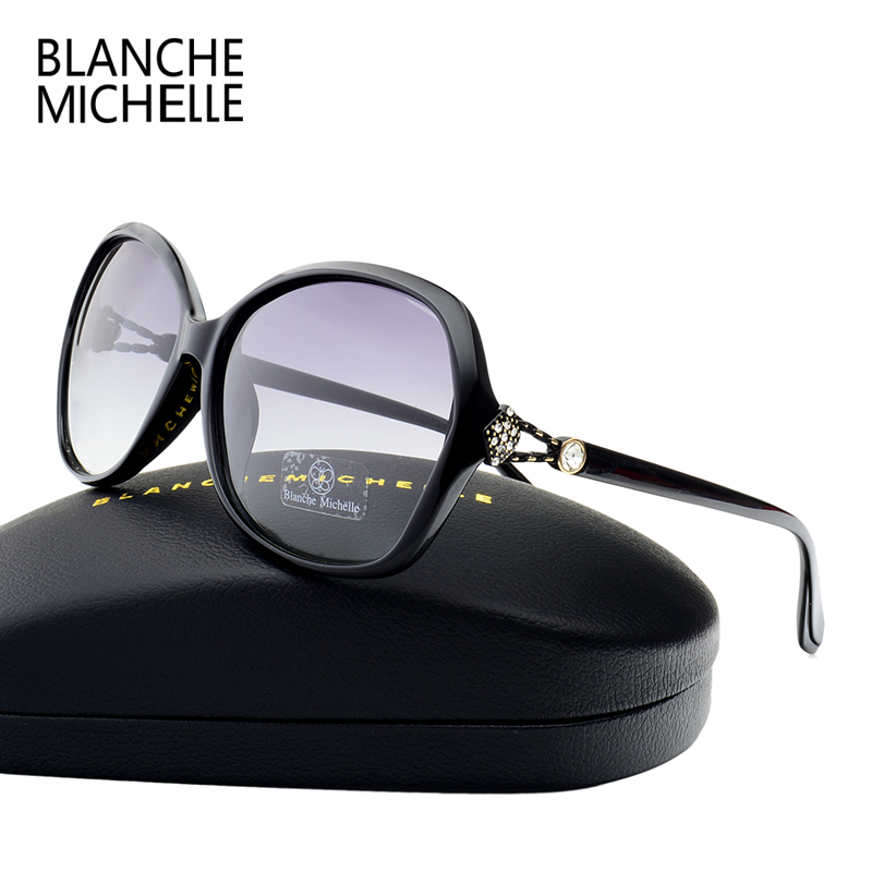 2018 High Quality Gradient Lens Sunglasses Women Polarized Brand Designer UV400 Sun Glasses Woman Diamond Decoration With Box