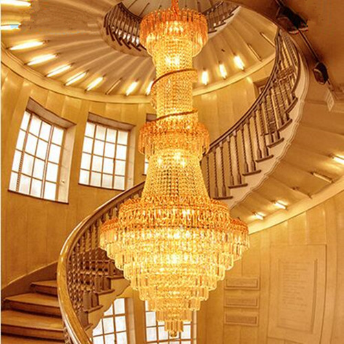 LED 51W 60W Luxury Villa Atmosphere Stair Lamp Ddouble Entry Stair Lights Sitting Room Crystal Pendant Lamps 110 240V in Pendant Lights from Lights Lighting