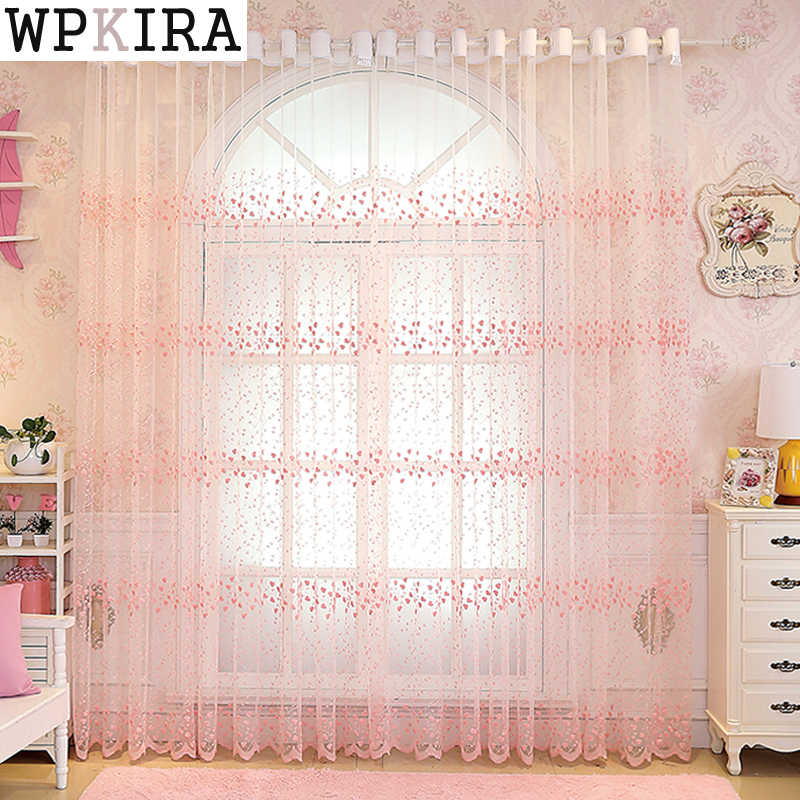 Embroidery Flowers Lace Curtains For Living Room Bedroom Sheer Kitchen Curtain Window Treatment Screen Pink White Tulle 208&30
