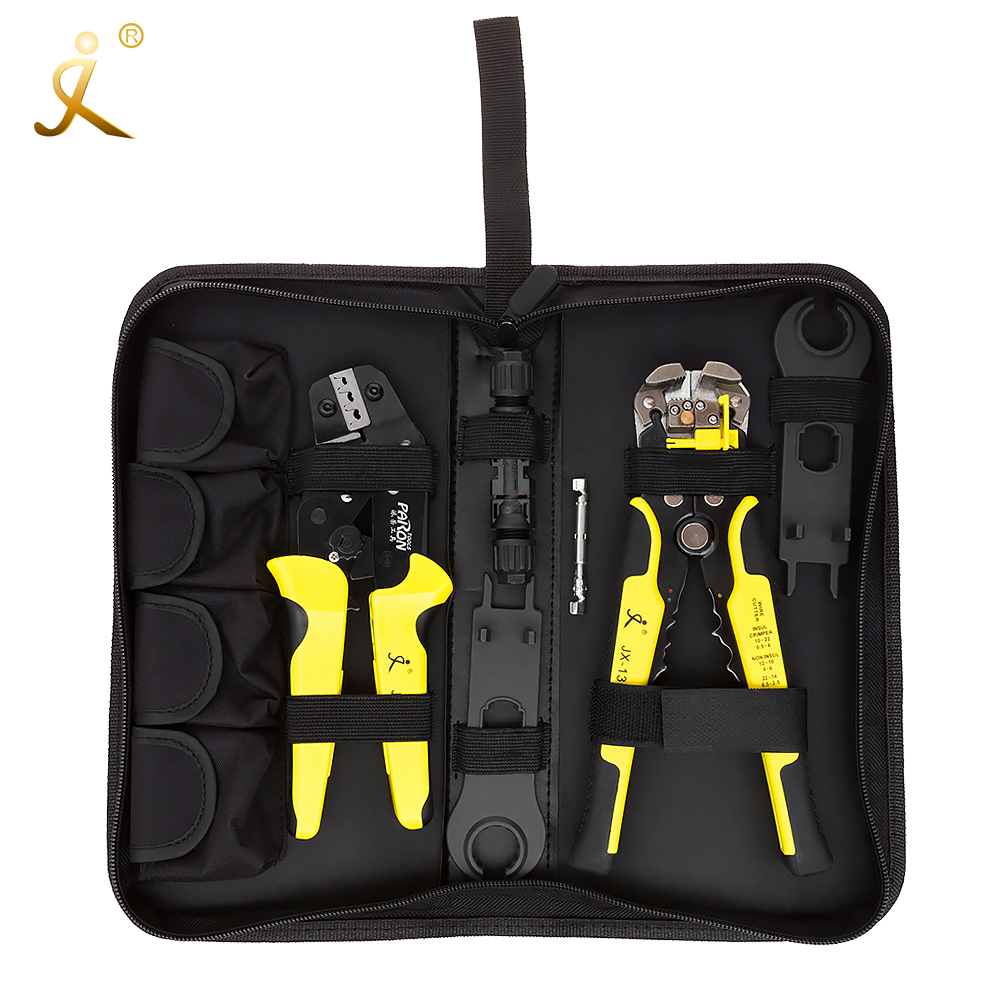 MC4 Panneau Solaire multitool Outils de Sertissage 2.5-6mm2 14-10AWG Fil À Sertir Fil Connecteur Coupe Kit + Dénuder Sertissage pinces