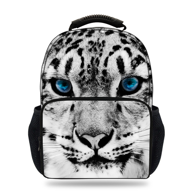 15inch Cool Boys School Backpack 3D Animal Print Snow Leopard Backpack for  Girls Teenagers Mochilas Escolares Book Bag