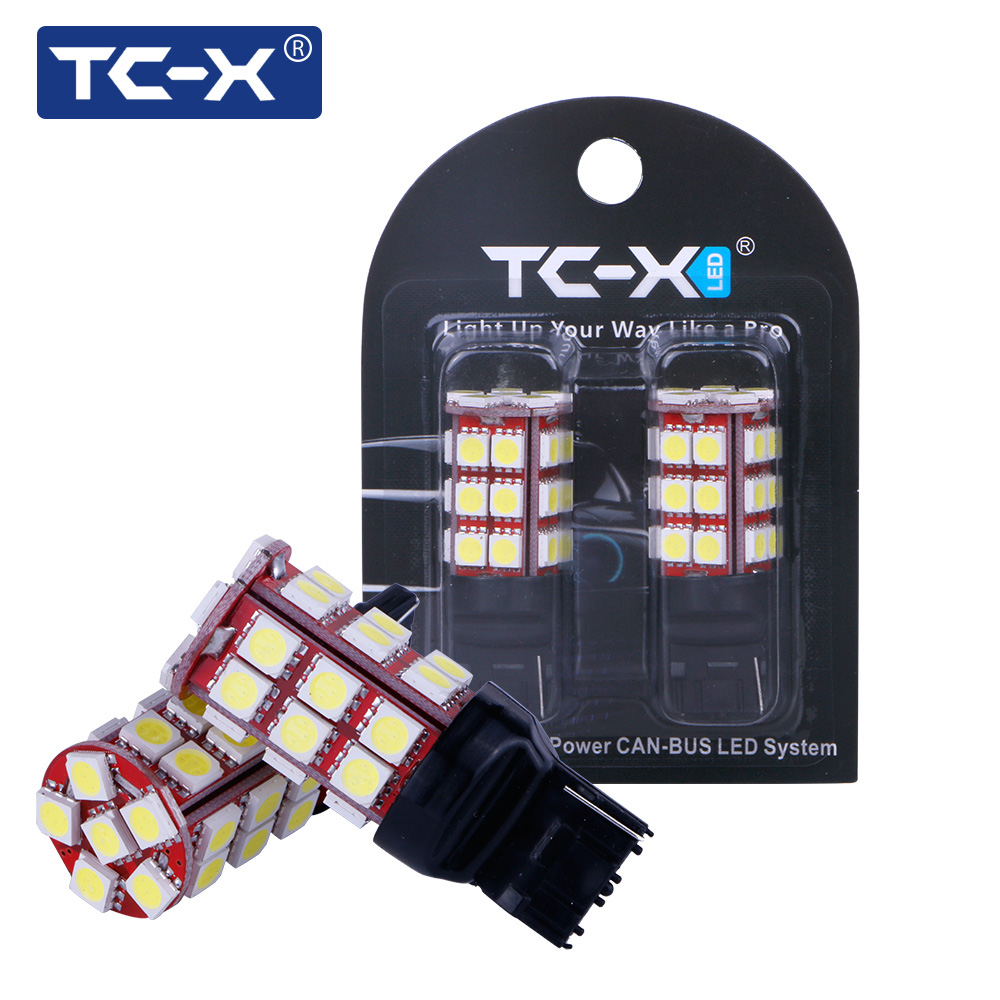 TC-X 2pcs W21W T20/7440 Bulb Led Canbus LED 5050 SMD 12V White Super Bright Unversal Car-styling for Turning lights brake lights new arrival canbus p6 car led head lamp conversion kit bulb 4500lm 2 9000lm led headlight super bright 45w 2 90w car styling