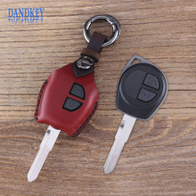 Dandkey Car Key Case Leather Cover 2 Buttons For Suzuki Swif