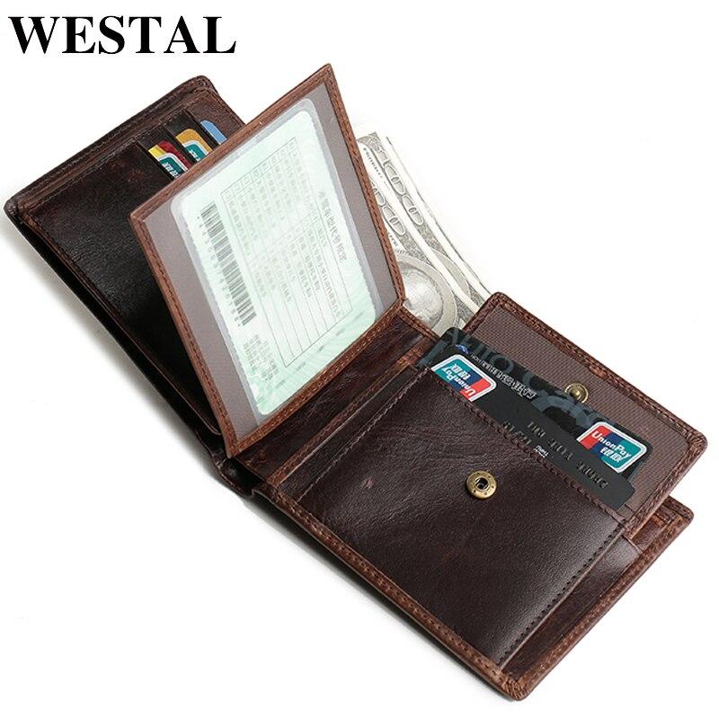 WESTAL Wallet Genuine-Leather Card-Holder Man Purse Vintage Men's 8866 Credit-Card