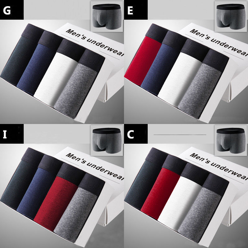 4 Pieces Pack Men Fashion Cotton Rich Boxer Shorts Gift Solid Breathable Boxers Underwear Size L/XL/XXL/XXXL