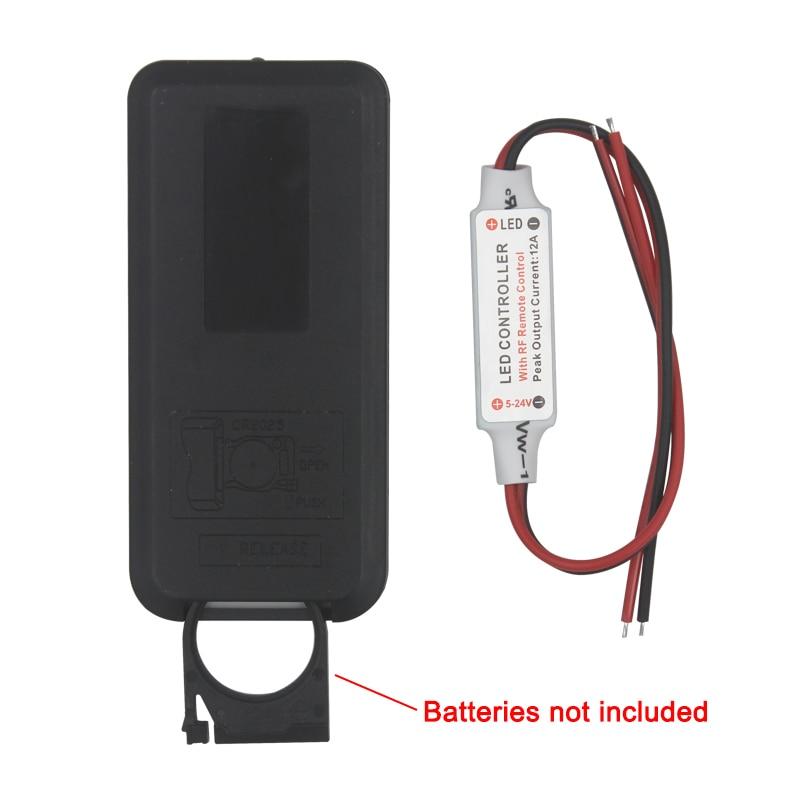 Free shipping 12A 5V-24V LED RF Wireless Mini Remote Dimmer Controller RF Wireless Remote LED Controller
