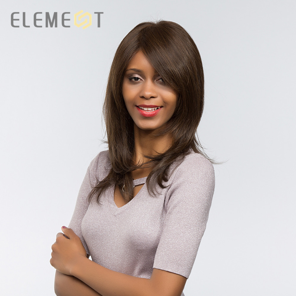 Element 20 Inch Long Straight Hair Synthetic Wig with Side Fringe Heat Resistant Fiber Glueless Full