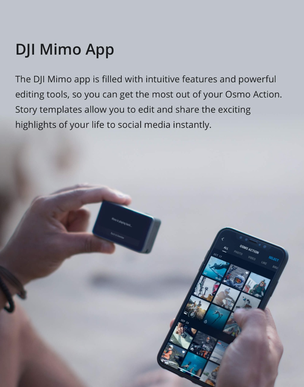 DJI Osmo Action Camera, Waterproof Dual Screens for Sports, Mimo App