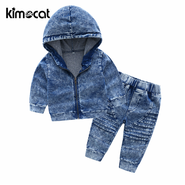 Kimocat New Arrival Autumn And Spring Long Sleeve Childrens Hooded Knit Denim Suit Boys Clothing Sets Toddler Tracksuit Sets