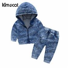Kimocat New Arrival jesień i wiosna z długim rękawem dziecięca dzianina z kapturem Denim garnitur chłopięce zestawy odzieżowe maluch dres zestawy
