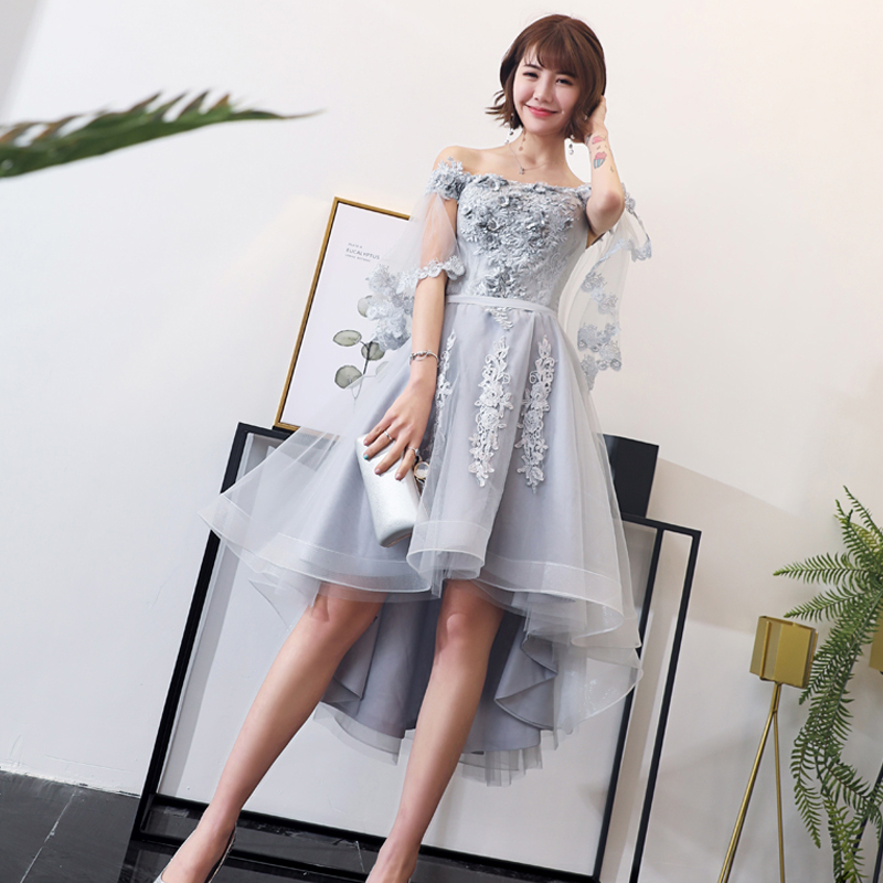 Cocktail Dress Half-sleeve Embroidery Woman Party Dresses 2019 Lace Plus Size Sexy Off The Shoulder Robe Cocktail Gowns E708