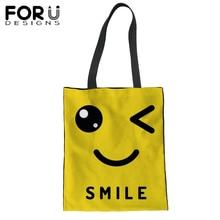 FORUDESIGNS Funny Yellow Canvas Hangbag Woman Shoulder Bag Emoji Smile Printing Shopping Tote Ladies Girl Bolsa Feminina