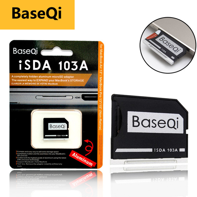 """BaseQi Micro SD Adattatore pcmcia card per MacBook Air 13 """"memory stick pro duo adattatore compact flash card adapter lettore di schede sd"""