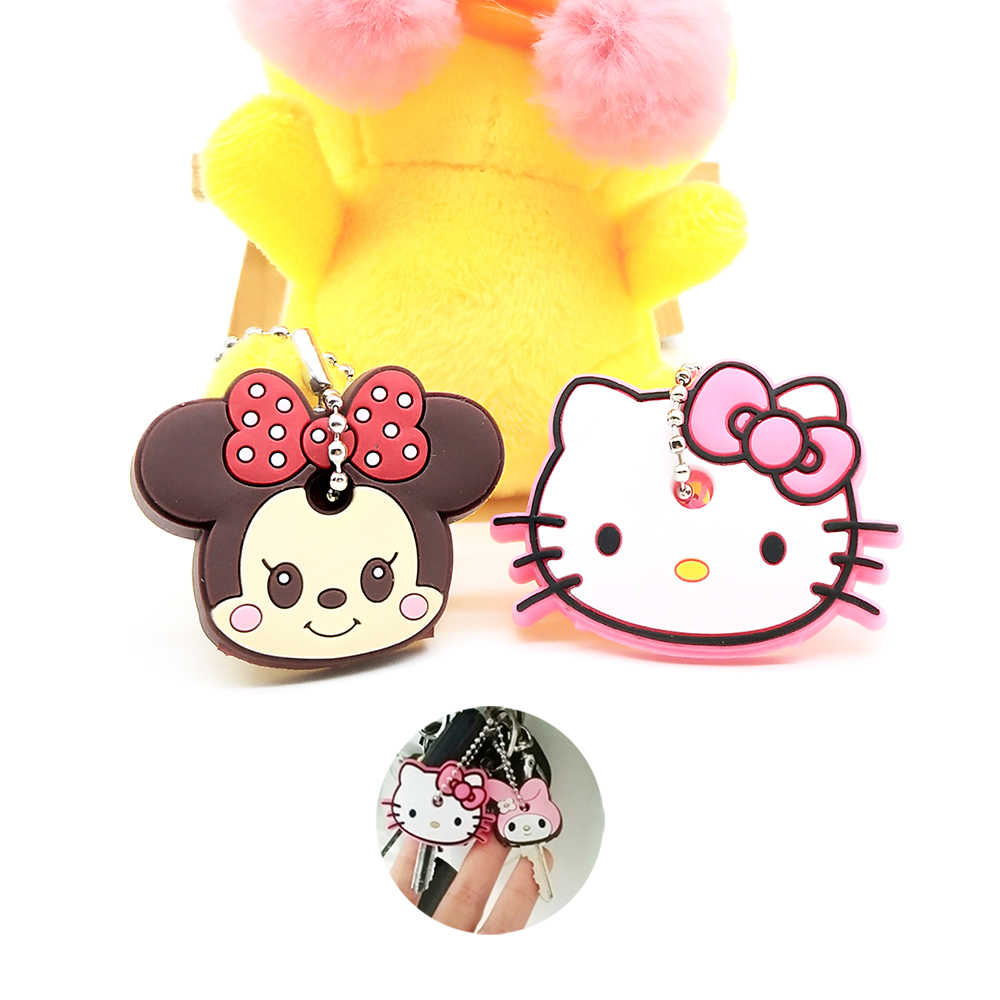 Bonito Dos Desenhos Animados Anime Ponto Kitty Minnie Chaveiro Keychain Chave Capa De Silicone Tampas de Os Vingadores hero Mulheres Titular Carro Chaveiros