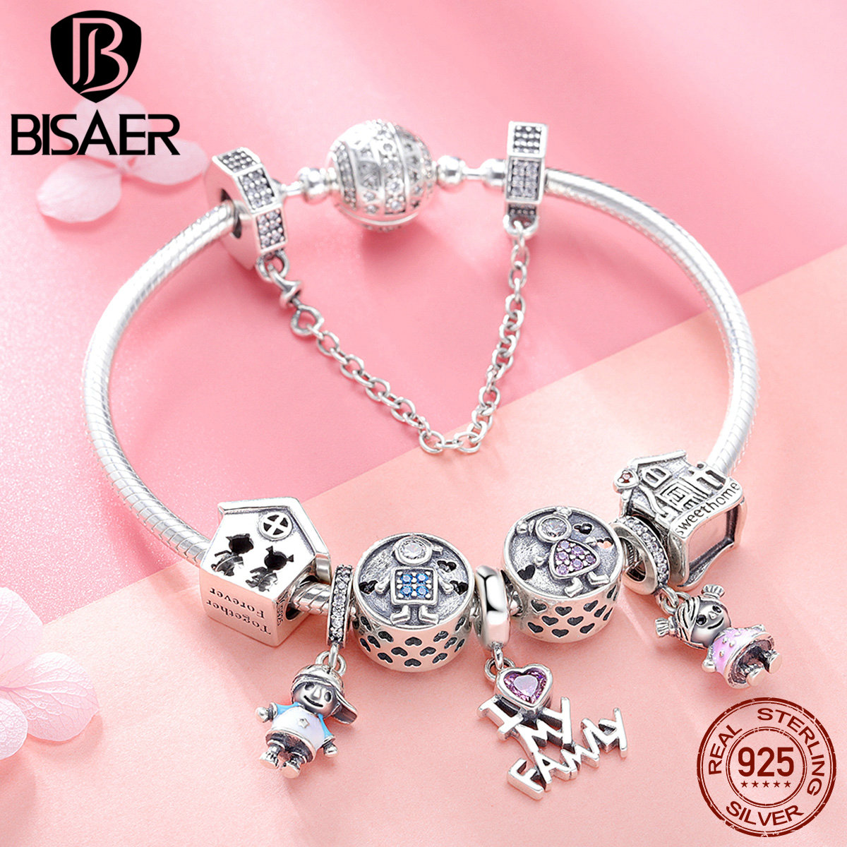 BISAER 9pcs 925 Sterling Silver Boy And Girl House Family Collection Women Silver Brand Charm Bracelet Fashion Bangle GXB810 bisaer 7pcs 925 sterling silver heart key and locket heart pendant brand charm bracelet for women wedding silver bangle gxb811