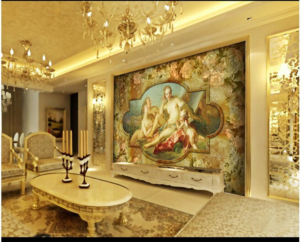 Custom large 3d murals angel love european for television for World no 1 home