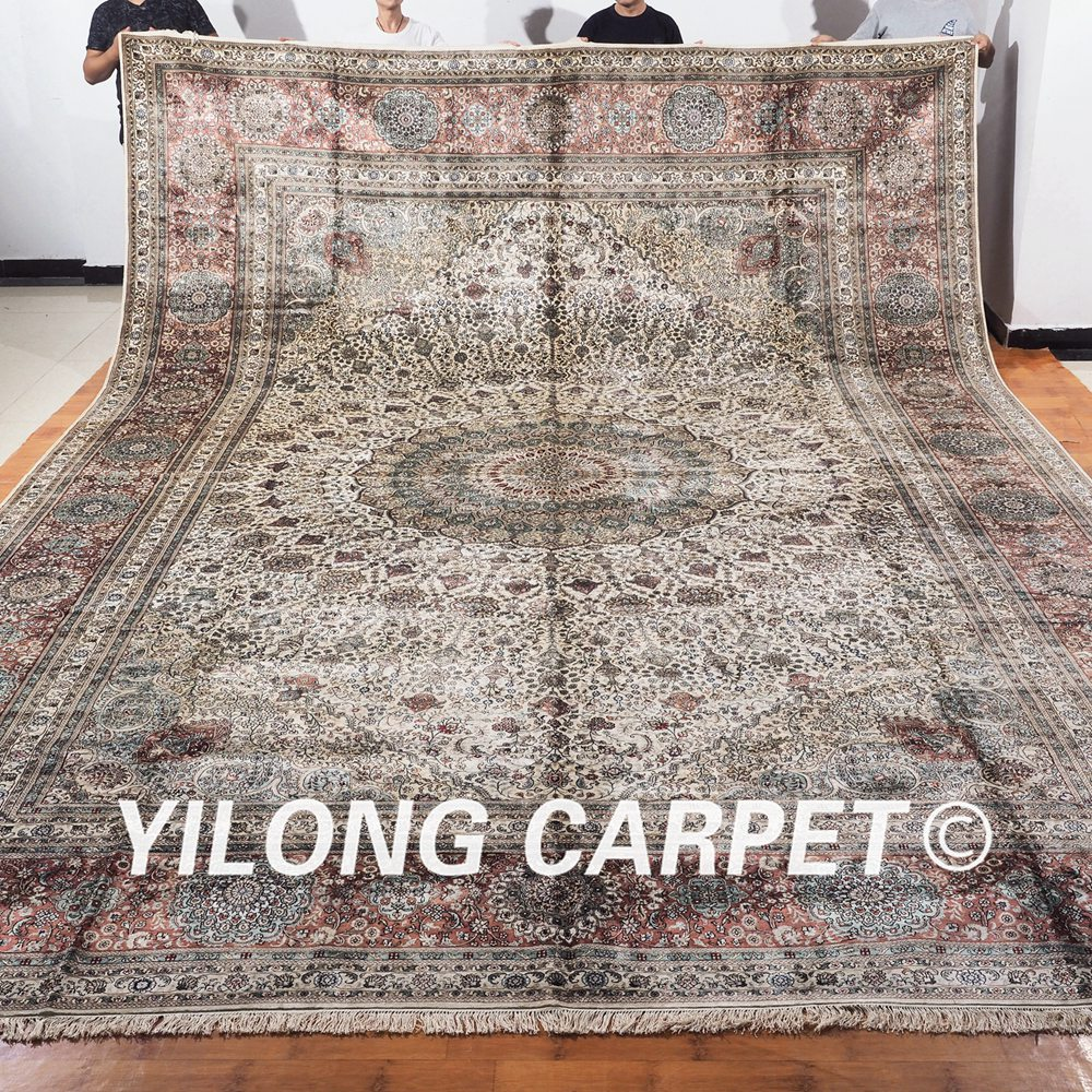 Traditional Kashmir Silk Handmade Hand Knotted Persian: YILONG 12'x18' Traditional Persian Design Handknotted