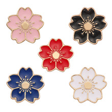 Fashion Kawaii Multicolor Cherry Blossom Bunga Bros Pin Cute Cherry Bros Wanita Gadis Hadiah Bros Tombol Pin Perhiasan Hadiah(China)