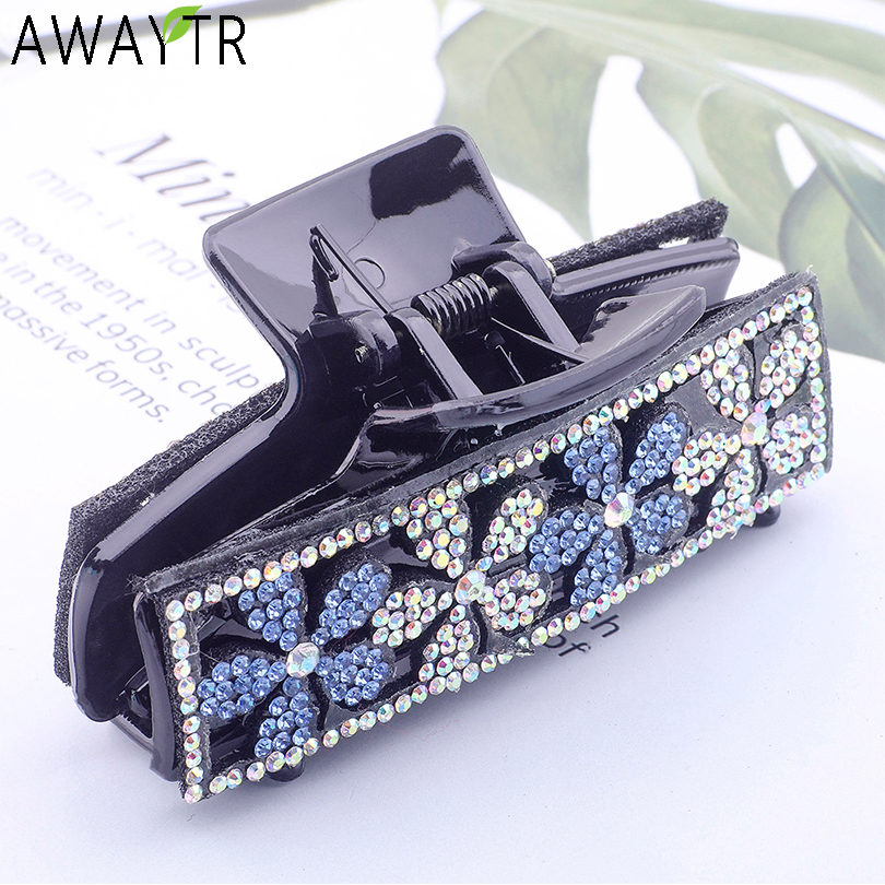 AWAYTR Fashion Women Hair Claw Floral Crystal Plastic Rhinestone Stones Hair Clips Crab Clamp Hairpin   Headwear   Hair Accessories