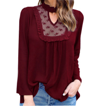 Women Sexy Lace  Spliced  V-Neck Long Sleeve Chiffon Shirt Blouse Lady Sexy Chiffon Top Shirt  Female  Blusa Cool Blouse