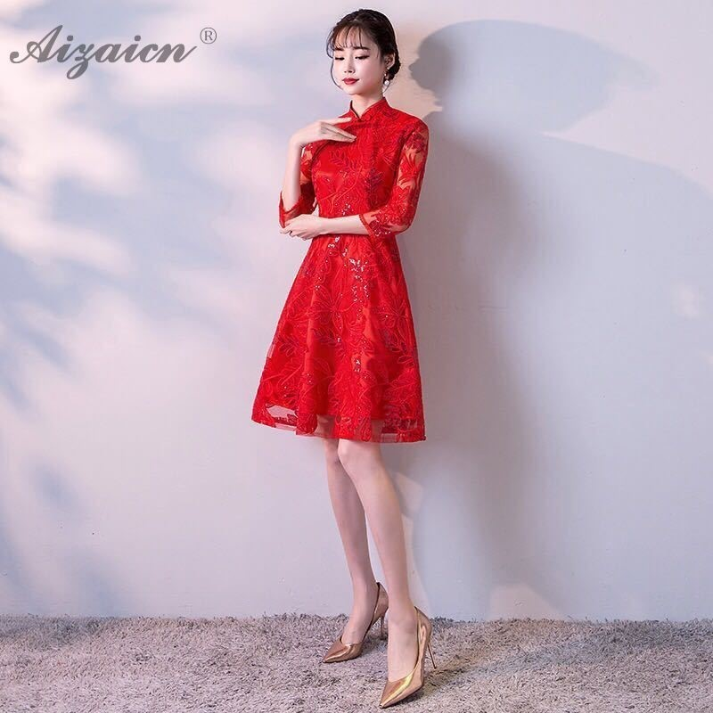 2019 Red Fashion Lace Short Cheongsam Modern China Party Vintage Gown Qi Pao Women Chinese Wedding Dress Qipao Evening Dresses