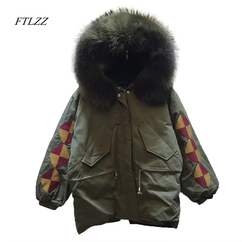 Ftlzz Parkas Mujer Invierno 2017 Short Chic Large Fur Collar Down Jacket Women Slim Fashion Army Green Coat Warm Winter Jackets