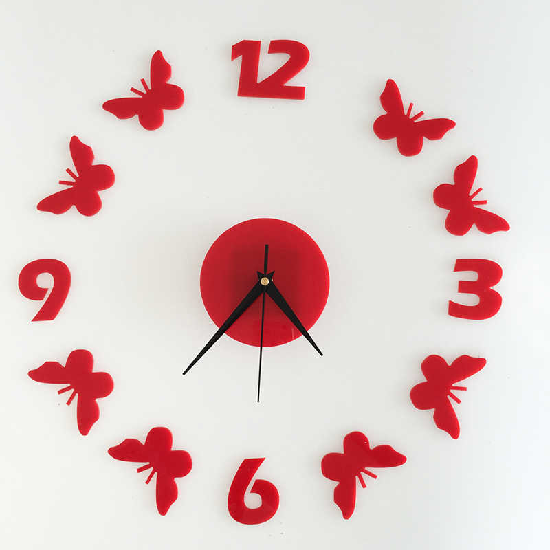 Waterproof Butterfly Wall Clock Decorative Wall Stickers DIY Acrylic Wall Clocks Study bedroom Home Decor Christmas Gifts
