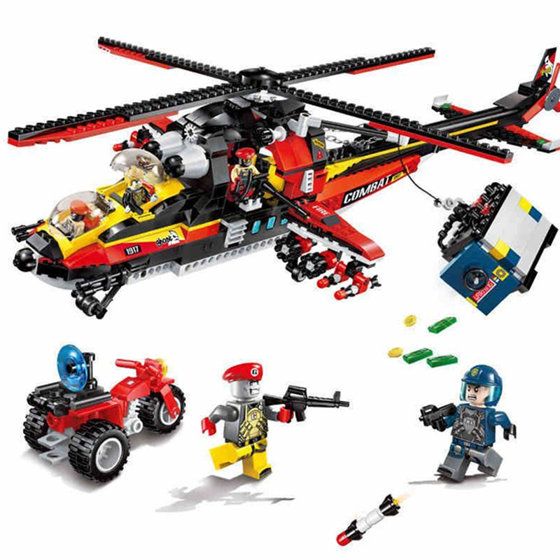 654pcs Children s educational building blocks toy Compatible city Police series armed police helicopter figures Bricks