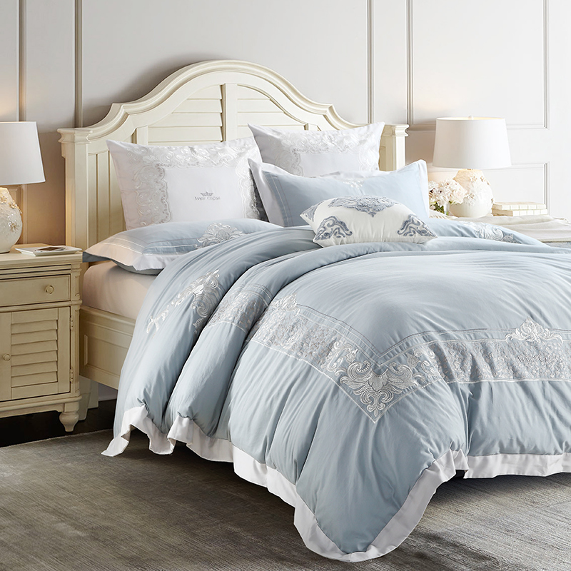 Papa&Mima embroidered Egyptian cotton Queen King size Luxurious bedding set duvet cover flat sheet pillowcases
