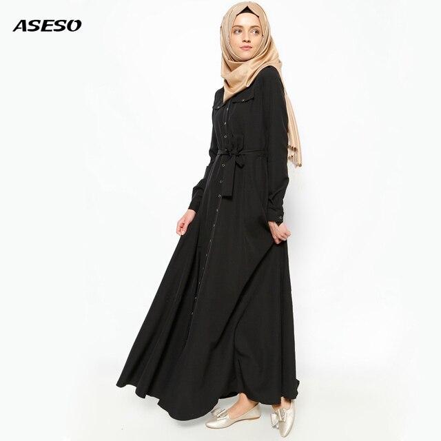 2017 Button Front Nida Muslim Dress Abaya In Dubai Islamic