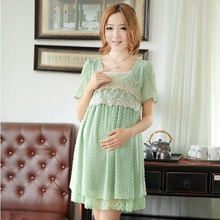 Chiffon Summer Style Dress Plus size for maternity women clothes pregnancy lace Trim Decoration Green Color Korean fashion