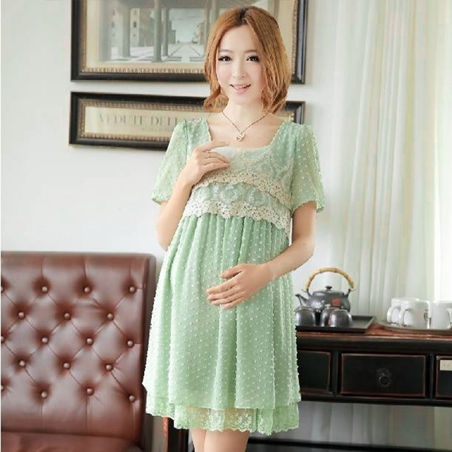 Chiffon Summer Style Dress Plus size for maternity women clothes pregnancy lace Trim Decoration Green Color Korean fashion