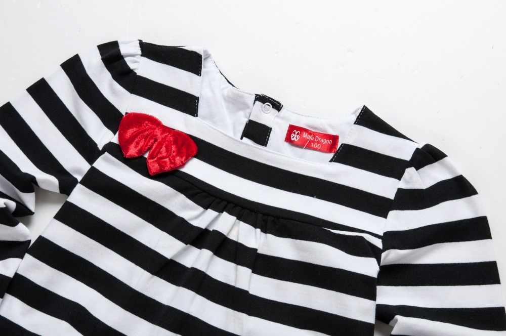 הודיה תינוק פעוט חדש נולד בנות בגדי חורף 3 שנים סתיו וחורף תינוק בגדי 2018 כותנה פסים שמלה עם