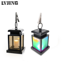 2Pcs Solar Garden Lantern Light LED Candle Solar Powered Fence Gutter Light Outdoor Yard Pathway Lamp RGB/Warm White Bulb Light