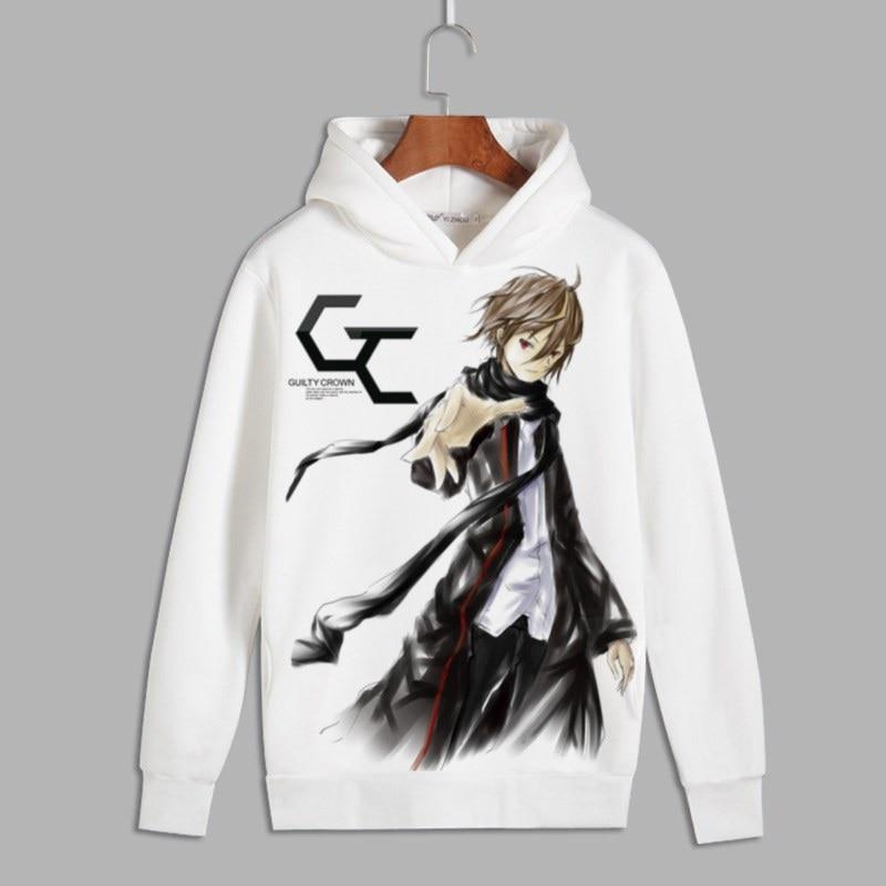 Guilty Crown Cosplay OUMA SHU Print Pullover hooded sweatshirts GC YUZURIHA INORI Unisex Fleece Hoodie for Autumn