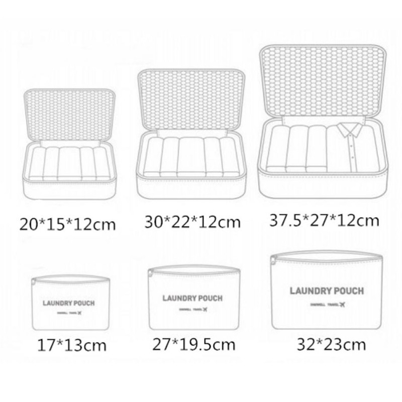 6PCS Set Travel Mesh Bag In Bag Luggage Unisex Clothing Sorting Organizer Storage Bag Packing Cubes Nylon Waterproof Travel Bags in Travel Bags from Luggage Bags