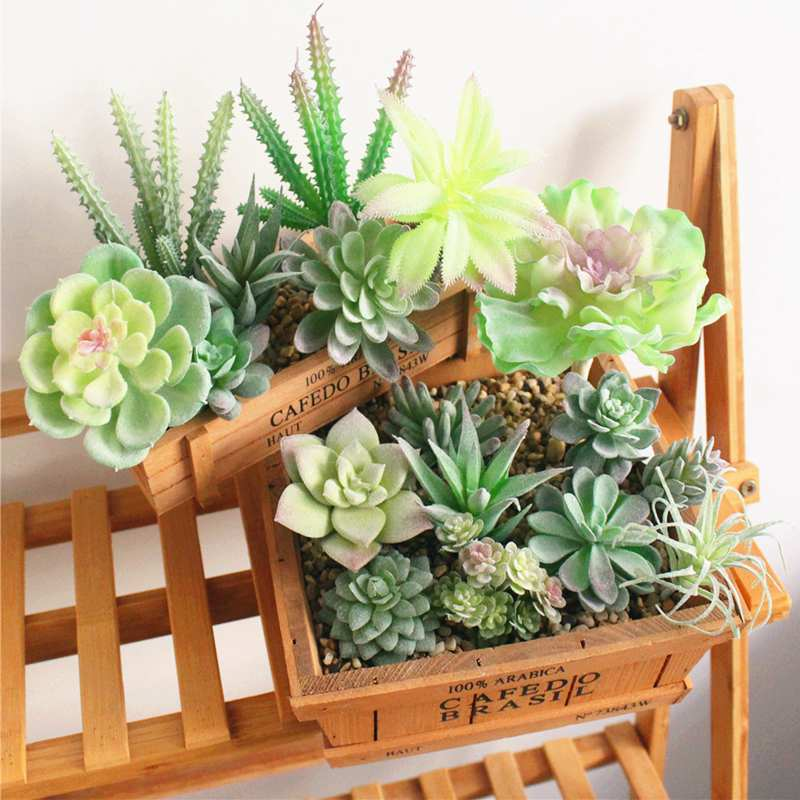9PCS Green Flocking Artificial Succulents Mix Unpotted Decorative Fake Plants Fake Succulents Accessories