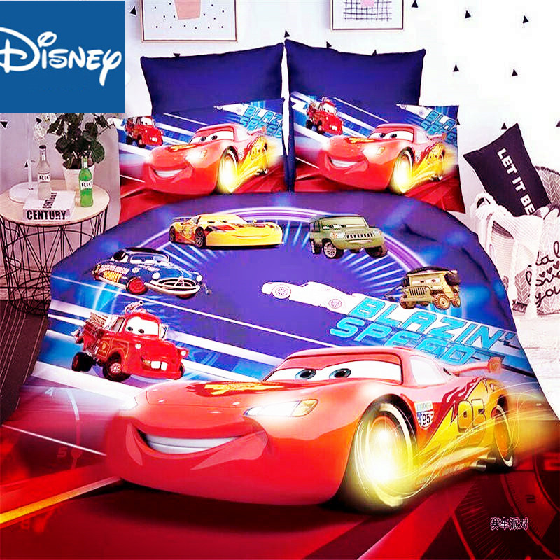 Disney Mcqueen car bedding set blue color speed Duvet Cover flat sheet twin PillowCases Single Size Bed Linen For boys hot|Bedding Sets| |  - title=