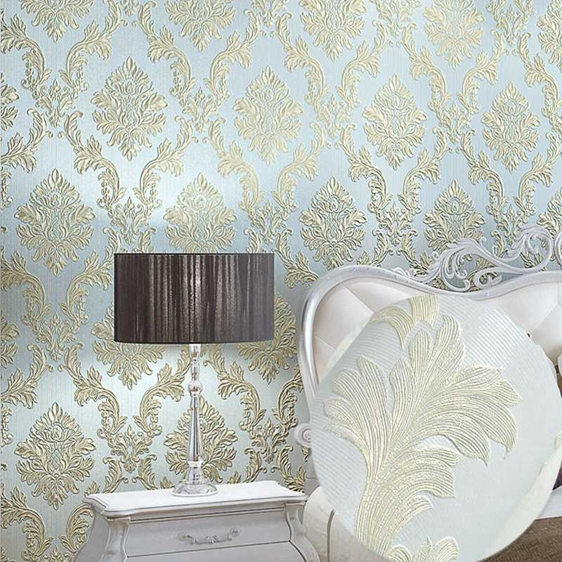Modern 3d Textured Damask Wallpaper Roll For Room Bedroom Decor Relief Metallic Glitter Classic Wall Paper Golden Pink Wallpaper Wallpapers Aliexpress
