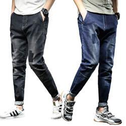 Одежда с эластичной резинкой на талии полной длины рваные Для мужчин джинсы мужские мешковатые Homme в стиле хип-хоп Уличная одежда большого