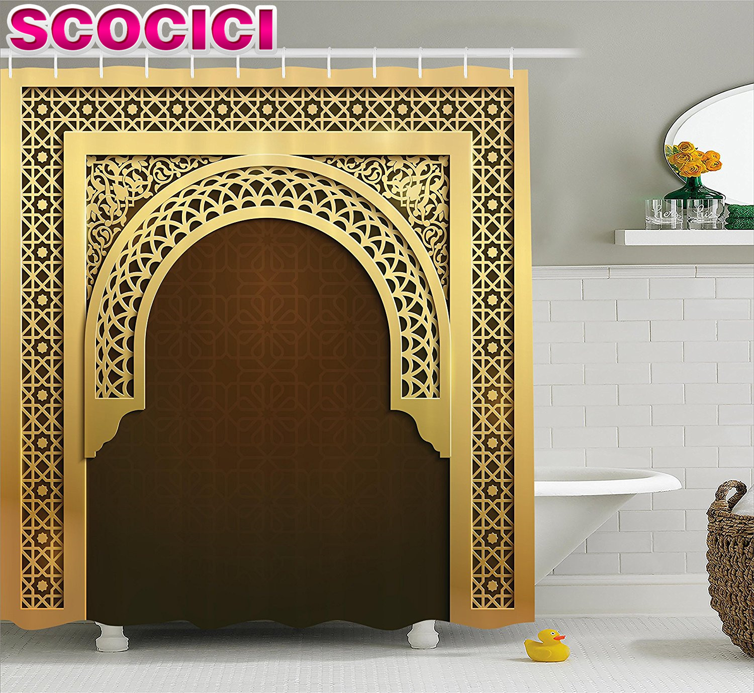 Shower Curtains That Open In The Middle.Us 25 99 50 Off Moroccan Shower Curtain Middle Eastern Ramadan Greeting Scroll Arch Figure Celebration Holy Eid Theme Fabric Bathroom Decor Set In