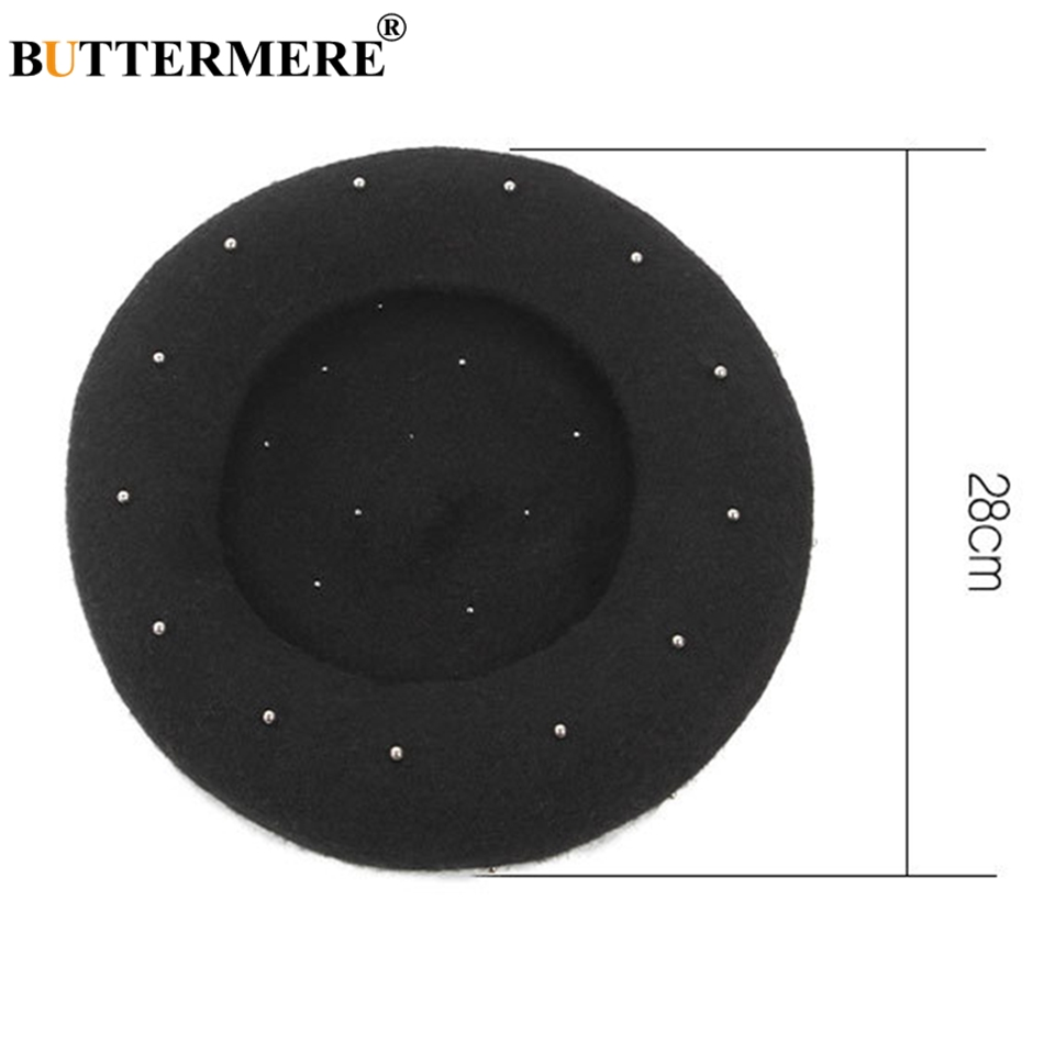 BUTTERMERE Winter Hats For Women Berets Wool Black Painter Cap Female Pearl Vintage Warm French Berets Ladies Soft Artist Cap in Women 39 s Berets from Apparel Accessories