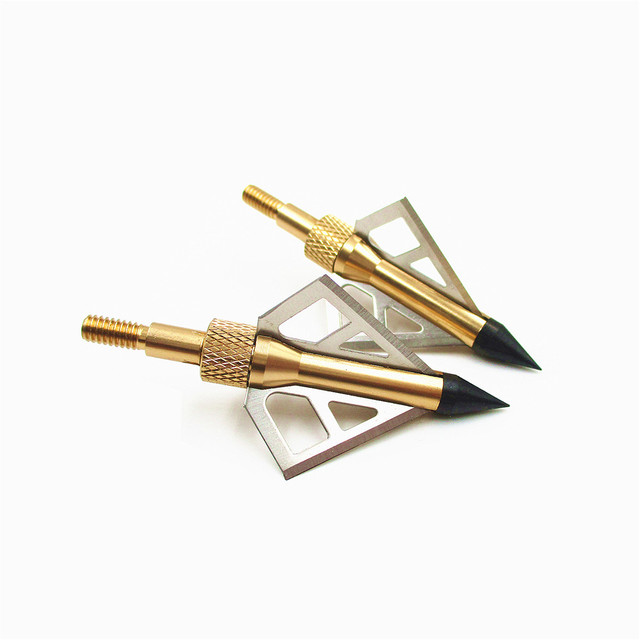 12Pcs High Quality Hunting Broadheads 100 Grain 3 Blades Steel Golden Arrow Heads For Shooting Bow And Crossbow Arrowheads