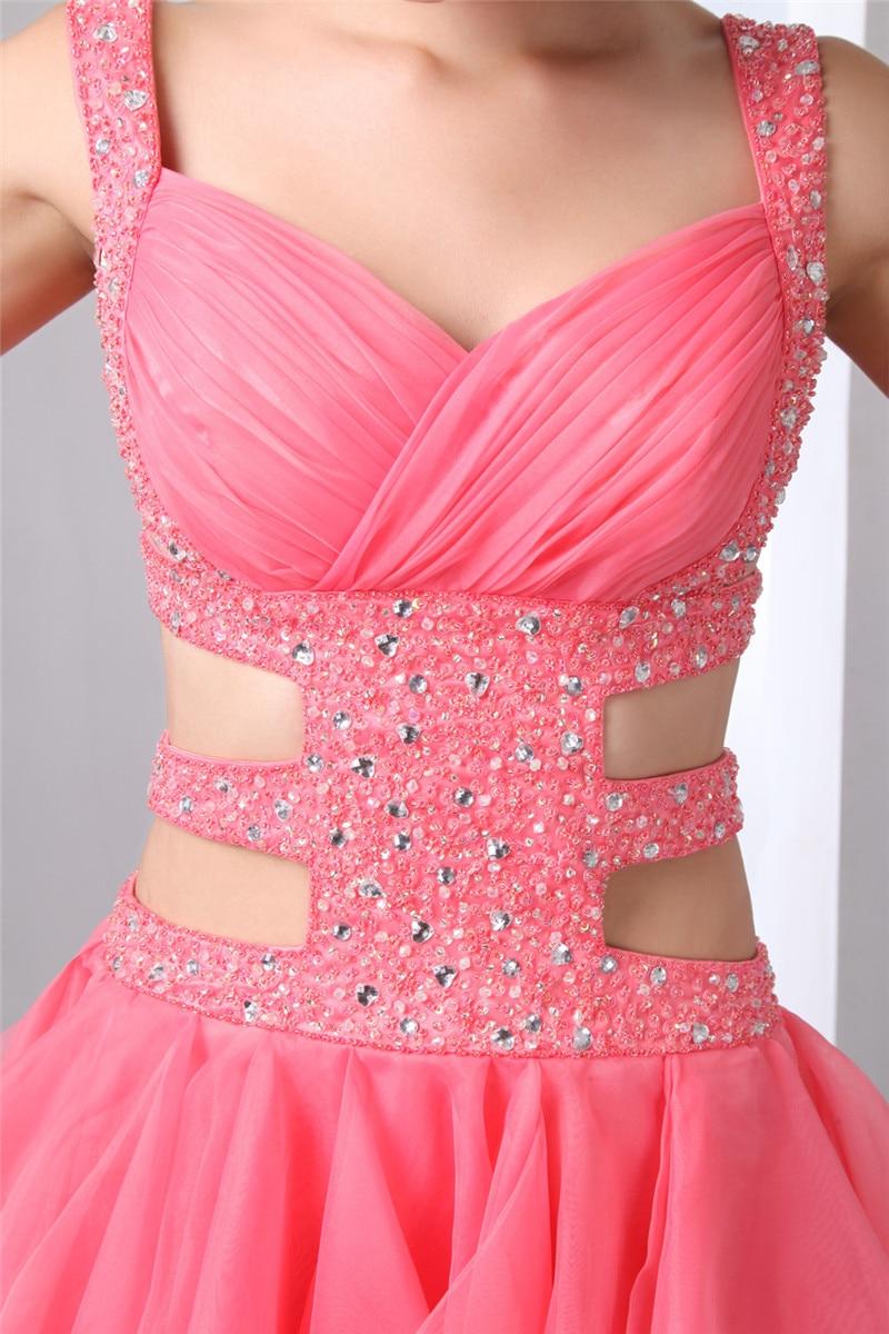 Sexy Backless vestidos de fiesta 2018 luz Coral Puffy Organza falda ...