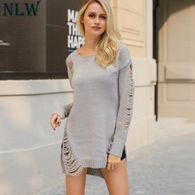NLW Hollow Out Split Knitted Sweaters Women 2018 Autumn Pullover Long Sleeve Black Sweater Casual Winter Chic Gray Jumpers(China)