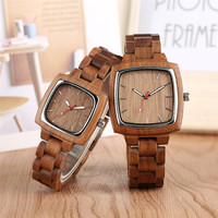 Lovers Watches Quartz Timepiece Wooden Bangle Wristwatch Coffee Brown Natural Wood Couple Watch Top Gifts for Men Women reloj